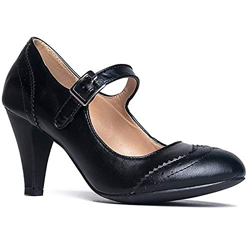 J. Adams Kym Heels for Women - Black Faux Leather Retro Mary Jane Oxford Pumps - 6.5