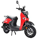 X-PRO 50cc Gas Moped Scooter Adult Scooter Bike Street Scooter Moped 50cc with 10' Aluminum Wheels!Fully Assembled in Crate-Red