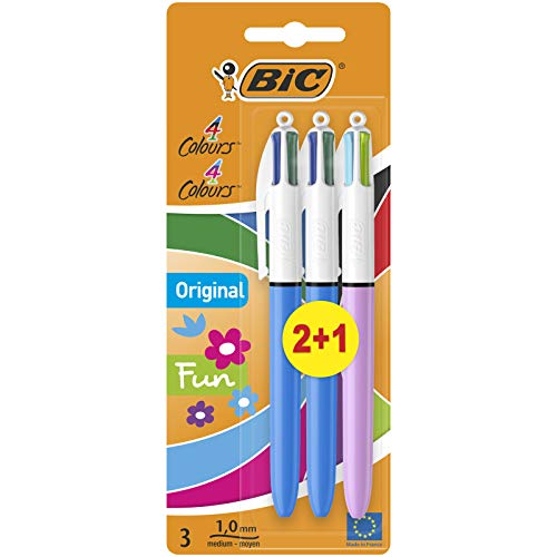 BIC 4 Colours Original e BIC 4 Colours Fun Penne A Sfera A Scatto Punta Media 1.0 mm, Pacco Misto da 2+1