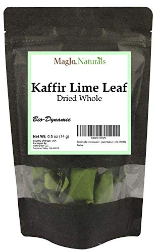 Dried Kaffir Lime Leaves from Citrus Hystrix plant, Makrut, grown in USA .5 Ounce