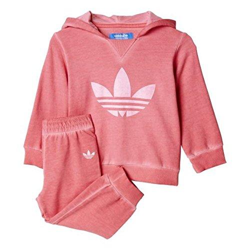 Adidas dziecięcy Tery kaptur zestaw bluza - różowy ROSPRI/biały, rozmiar 74