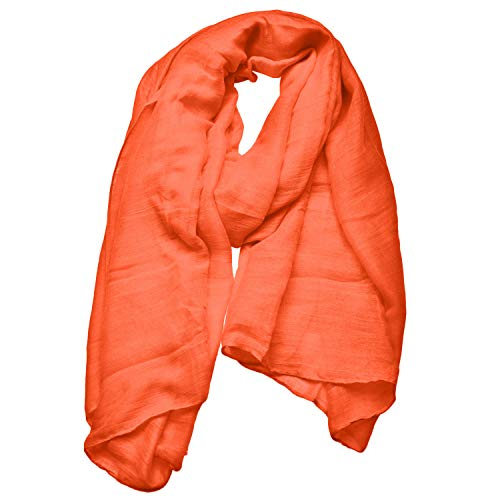 Woogwin Women's Cotton Scarves Lady Light Soft Fashion Solid Scarf Wrap Shawl (One Size, Orange)
