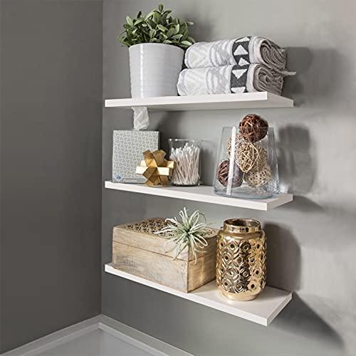 Set of 3 Wood Floating Wall Shelves White Wall Mounted Storage Shelf,3 Tier...