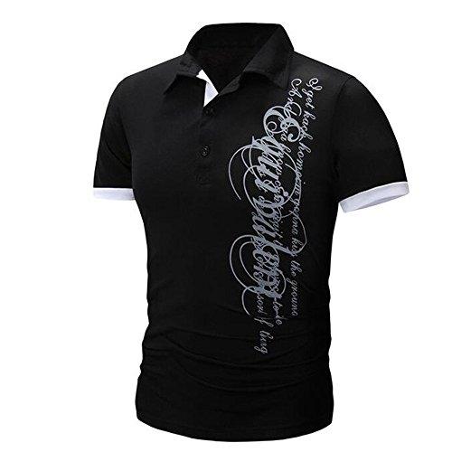 Eaylis-Herren tops LäSsige Kurzarm T-Shirt Hemden Sommer Einfarbige Taste Mit Buchstabenaufdruck