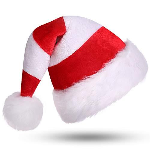 CITÉTOILE Weihnachtsmütze Nikolausmütze Dicker Fellrand aus Plüsch Nikolaus Mütze Weihnachtliche Mütze Für Erwachsene Weihnachtsfeier Weihnachtsmarkt Neuheit Streifen Rot & Weiß