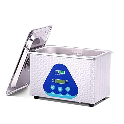 DK SONIC Profesional 900ML Limpiador Ultrasónicos de Acero Inoxidable 42,000 Hz 35W con Canasta y Limpieza para Relojes de Limpieza Gafas de Joyería Dental