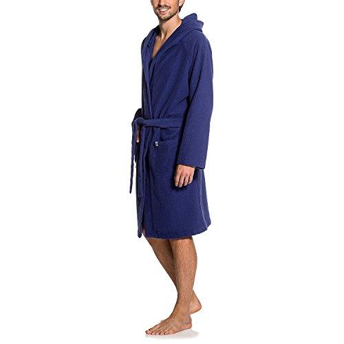 Maat Mons Herren Bademantel in blau | weicher Herrenbademantel aus Frottee | Morgenmantel mit Kapuze | Saunamantel mit Gürtel und Tasche | Größe 2/ 3XL