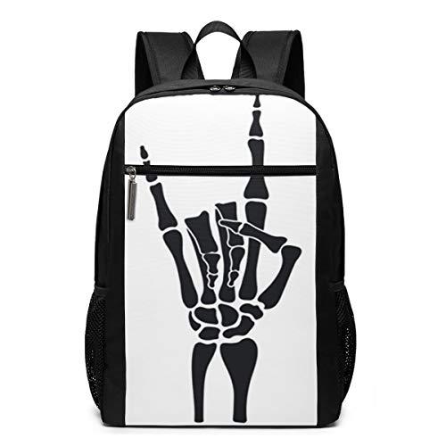 Mochila Escolares Rock Esqueleto Heavy Metal, Mochila Tipo Casual para Niñas Niños Hombre Mujer Mochila para Ordenador Portátil Viaje