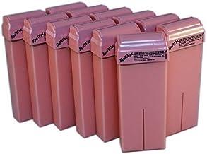 Epilwax Conjunto de 12 Cartuchos de roll on de 100 ml de cera depilatoria de rosa para las piernas, axilas, y el cuerpo – Grande Rollos de Recambio de 100 ml