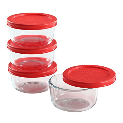 Pyrex 8 Piece Simply Store Glass Food Storage Set, Red