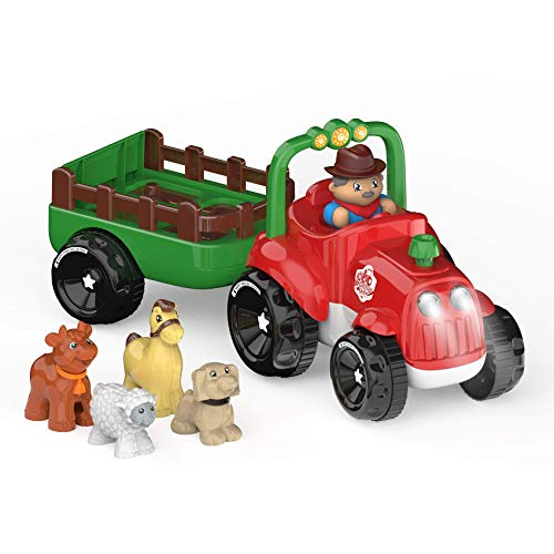 INTMEDIC Kids Toys Farm Truck Tractor with Detachable Farmer & Animals, Musical Tractor with Light & Animal Sound Effect, Great Gift for Toddlers Boys Girls, Age 3 4 5 6 7