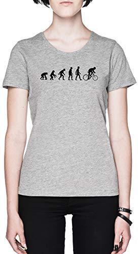 Evolución Bicicleta Sillín Gris Mujer Camiseta Tamaño M Grey Women's tee Size...