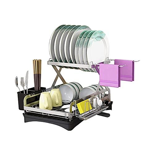 N\C DMKD Rejilla para secar Platos, escurridor de Platos de Acero Inoxidable de 2 Niveles con Canal de Drenaje Ajustable, Cubiertos y portavasos para encimera de Cocina DMKD