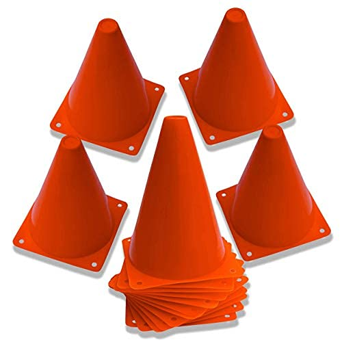 """Dazzling Toys 7 Inch Plastic Traffic Cones - 7"""" Multipurpose Construction Theme Party Sports Activity Cones for Kids Outdoor and Indoor Gaming and Festive Events (6 Pack)"""