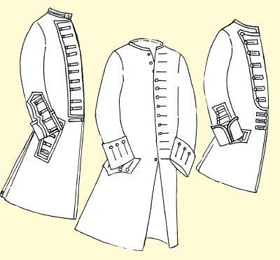 1750's Coat with Military Variations for the Officer or Enlisted Man (42' Chest)