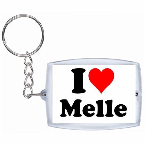 Druckerlebnis24 Schlüsselanhänger I Love Melle in Weiss - Exclusiver Geschenktipp zu Weihnachten Jahrestag Geburtstag Lieblingsmensch