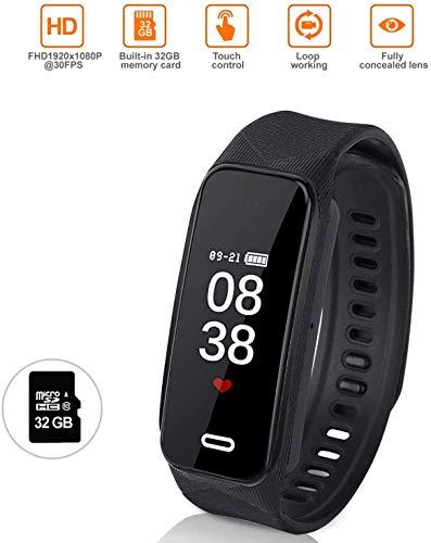 Uhr Mit Kamera, Kamera Watch, Intelligente Armband Kamera, Spionage Uhr Kamera, Versteckter Multifunktionsrecorder 1080P HD Mini-DVR-Cam, Fingerabdruck-Touch, Schwarz