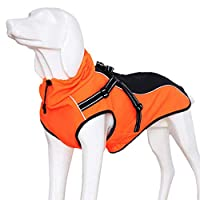 1.SIZE: The style of dog jacket is run larger,only fit for medium or large dog, please choose one size smaller. 2.MATERIAL: Polyester Fiber, Bonded Polar Fleece material inside makes a comfortable touch and keep warm for your dogs. Elastic, waterproo...
