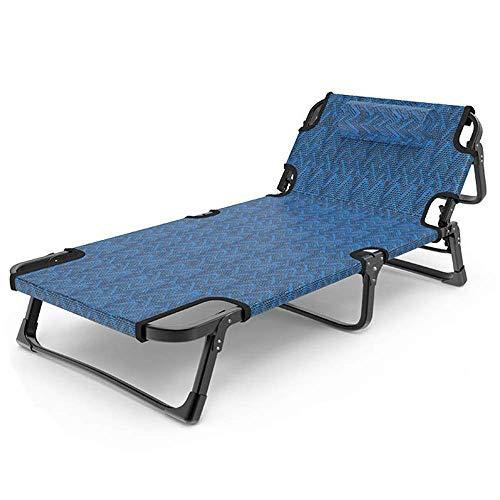 ShiSyan Cama Plegable Azul Plegable Cama Individual de huéspedes Camas Ajustable Tumbona con 5 Nivel Altura del colchón de Visitantes Cama (Color: Azul, tamaño: 190 * 68 * 30 cm) Sillas Plegables