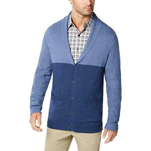 Tasso Elba Mens Pallo Button-Up Shawl Cardigan Sweater Blue XL