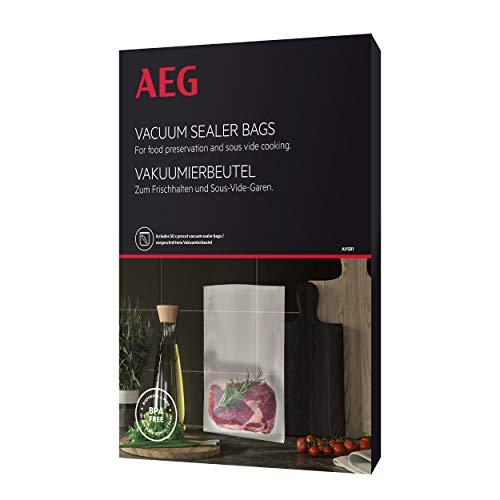 AEG AVSB1 - Bolsas de envasado al vacío (apto para nevera y congelador, conservar, cocer al vacío, precortado, 7 capas, 500 ml, -30 °C hasta 110 °C, transparente)