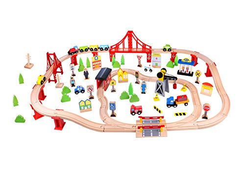 Fat Brain Toys Wooden Express 100 Piece Train Set Imaginative Play for Ages 3 to 4