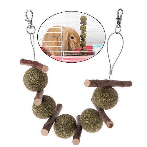 Vektenxi Premium-Qualität Haustier Zähneknirschen Spielzeug, Hamster Kaninchen Apfel AST Gras Ball hängenden Käfig