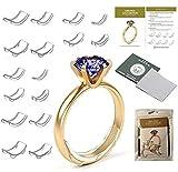 Queta 16 piezas Ajustador de tamaño de anillo invisible Reductor de tamaño de anillo de silicona para anillos sueltos Protector de anillo transparente adecudo a todo anillo (8 Tamaño)