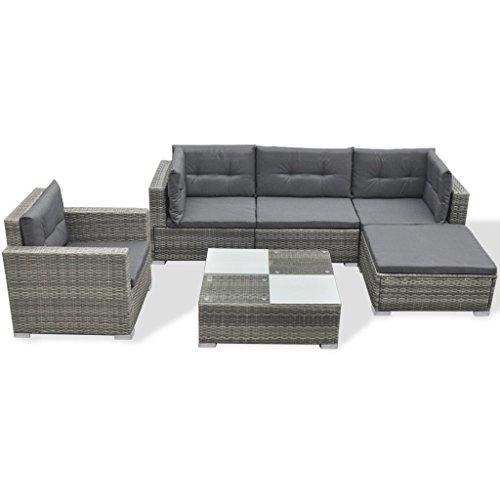 Festnight 17-TLG. Gartensofa Set Garten Lounge-Set Gartenlounge aus Polyrattan Loungegruppe Sitzgruppe für Terrasse Garten - Grau