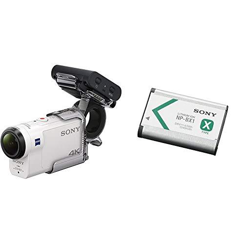 Sony FDR-X3000RFDI 4K Action Cam (mit RM-LVR3 Live View Remote Fernbedienung und Fingergriff AKA-FGP1, Carl Zeiss Tessar Optik) weiß & NP-BX1 Li-Ion Akku (Typ X, 3,6V, 1240mAh) für Cyber-Shot