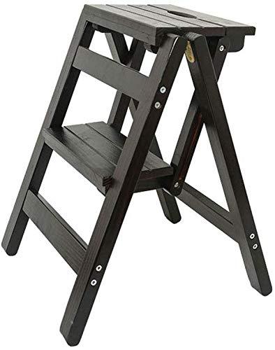 XITER-Step Kruk Opvouwbare Stap Ladder 2 stappen Houten Zwart Lichtgewicht en Opvouwbaar voor Kind Volwassen voor Bibliotheek Loft Keuken Home Decoratie - 150kg Capaciteit