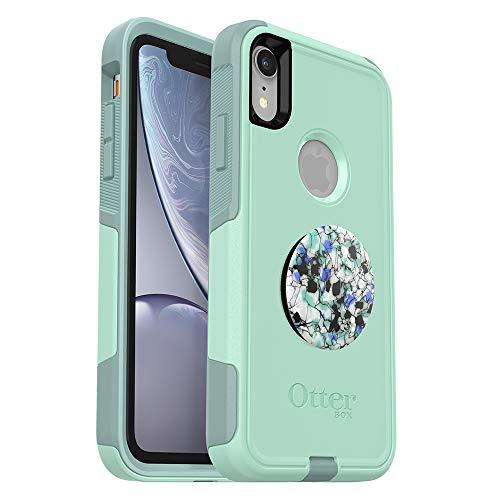 Otterbox Commuter Series - Carcasa para iPhone XR (Forma océana) + PopSockets PopGrip (Granito serpentino)