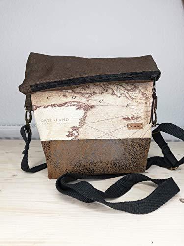 Foldover Mini Handtasche Umhängetasche Tasche Weltkarte Weltkartenserie