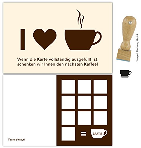 Premium Kaffee Bonuskarten 500 Stk. inkl. Stempel mit 10 Stempelfeldern. Treuekarten passend für Bereiche wie Gastronomie, Restaurant, Weinhandel, Getränkehandel, Freizeit, Gaststätte Bäckerei