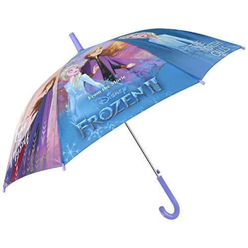Frozen 2 Regenschirm Kinder - Kinderregenschirm Disney Eiskönigen II Anna ELSA - Regen Schirm Mehrfarbig Blau Rosa für Kleine Mädchen 6/8 Jahre - Stockschirm Automatik - Durchmesser 89 cm - Perletti