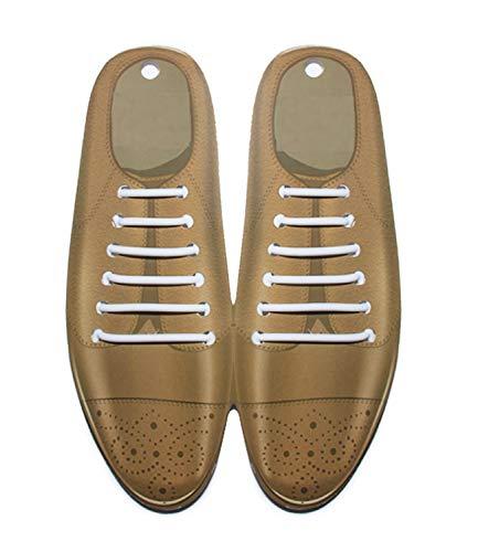 Fasionato - Sin cordones de encaje - Lacers zapatos lacados elásticos - zapatos cordones elásticos de silicona - cordones de zapatos redondos - 12pcs (Blanco)