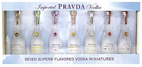 Pravda Vodka Flavored Miniaturen Geschenkset (7x 0,05l). Hochwertiger, 6-fach destillierter Super Premium Flavored Vodka aus Polen im Set mit 7 verschiedenen flavored Miniaturen à 0,05l