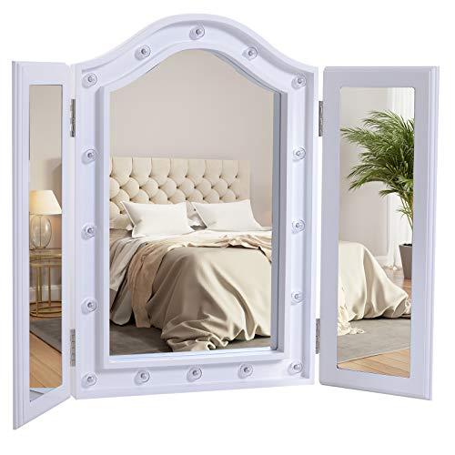 HOMCOM Kosmetikspiegel Schminkspiegel 16 x LED-Beleuchtung freistehend 180° ausklappbar Batteriebetrieben Weiß 3 Spiegel