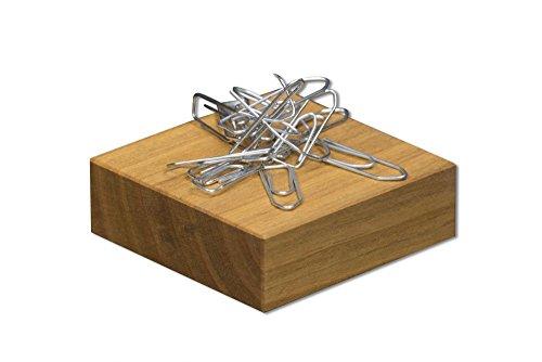 Büroklammerspender aus Holz | Maße 6,2 x 6,2 x 2,2 cm | Büroklammerhalter aus Kirschholz, magnetisch