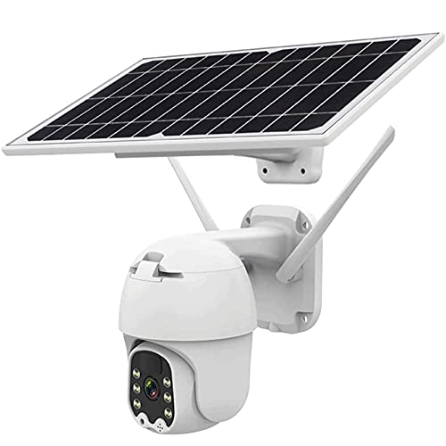 HLSH Telecamera PTZ Wireless con Batteria Solare 4G   WiFi, Telecamera IP per Videosorveglianza Domestica CCTV da 2 MP Impermeabile HD 1080P per Esterni, Rilevamento del Movimento Radar PIR(Size:4G)