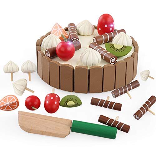 MiSha Jeux de Simulation de Coupe du gâteau Alimentaire pour Enfants, Jouets en Bois gâteau d'anniversaire rôle Pretend Jouer Ensemble de Jeu de Cuisine pour Les Enfants Broyage