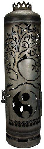 Mandelu Feuerstelle Feuertonne Lebensbaum mit Yin Yang Motiv
