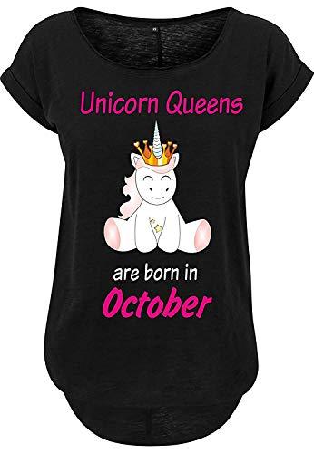 Livingstyle & Wanddesign Femmes Long Flammé Tee Licorne Queens sont Né Noir - October, S