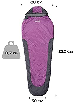 Where Tomorrow x Lumaland Sac de Couchage - 220 x 80 x 50 cm - Sac de Transport Inclus - Emballage 26 x 14 cm - 700g - Gris/Violet