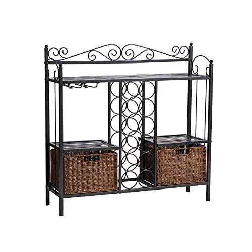 SEI Furniture Celtic Wrought Iron Bakers Rack Wine Storage, Gunmetal Gray