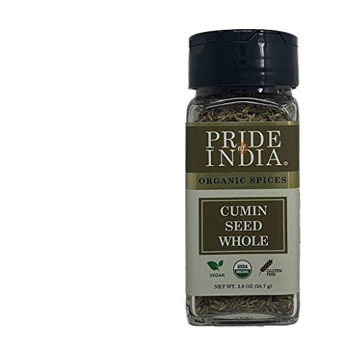 Pride Of India - Organic Cumin Seed Whole - 2 oz (56.7 gm) Dual Sifter Jar - Best for Culinary use on Stews, Meat, Curries & Soups etc