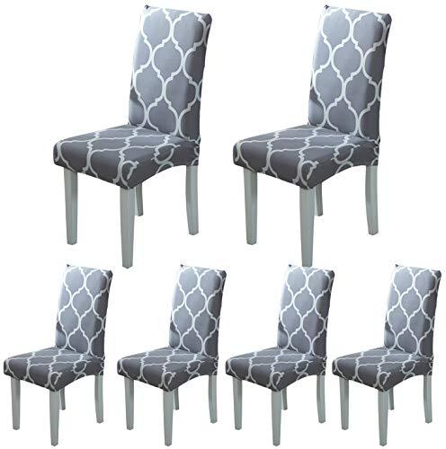 ARNTY Stuhlhussen 4er 6er Set,Stretch Stuhl Bezug Esszimmer,Universal Moderne Elastische Hussen für Stühle für Esszimmer Party Hotel Restaurant Deko (Grau-Diamant, 6 Stück)