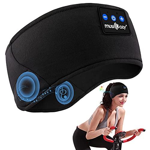 Schlafkopfhörer Bluetooth, Schlaf Kopfhörer Bluetooth V5.0 Schlafmaske Sport Stirnband Kopfhörer mit Ultradünnen HD Stereo Lautsprecher, Perfekt für Yoga, Sport, Seitenschläfer, Meditation