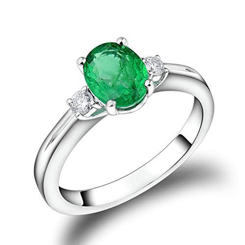 Daesar Anelli Oro Bianco 18K, Anello Promessa Matrimonio Forma Ovale 4 Griffe 1.28ct Smeraldo con Diamante Anello Oro Bianco Fidanzamento Misura 15