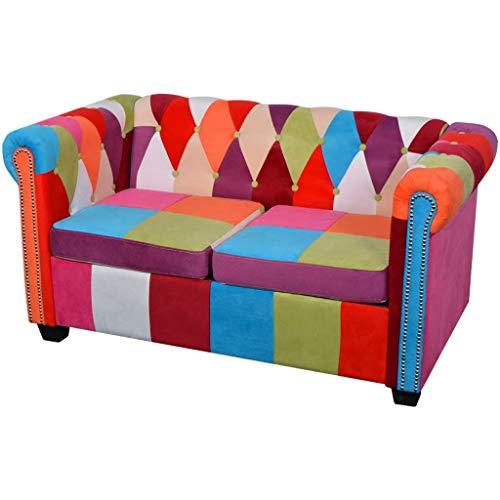 vidaXL Sofá de Dos Plazas Chesterfield Tapizado Tela Multicolor Sillón Biplaza